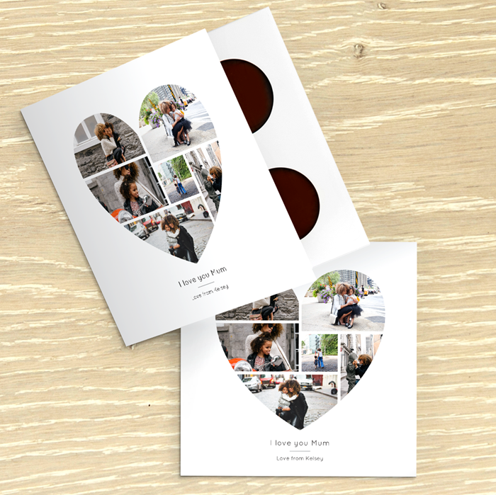 Picture of Beautiful heart photo personalised chocolate card