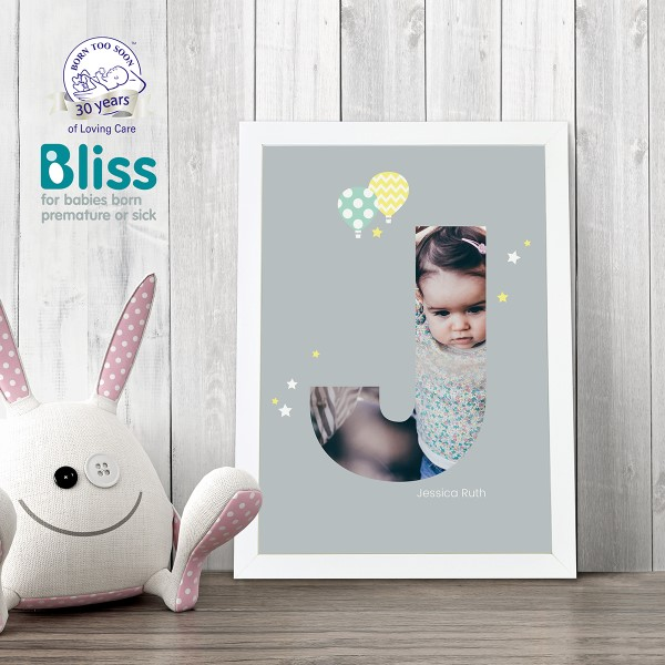 Picture of A4 Baby Alphabet 'J' personalised poster