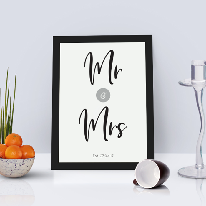 Picture of A4 Mr & Mrs personalised poster