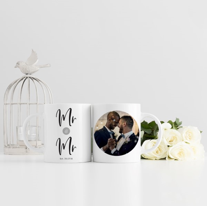 Picture of Mr & Mr Wedding Photo Personalised Mug