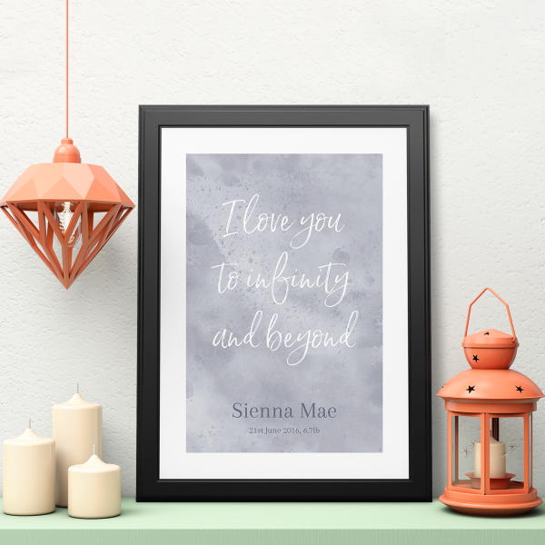 Picture of A3 Love you to infinity are personalised poster