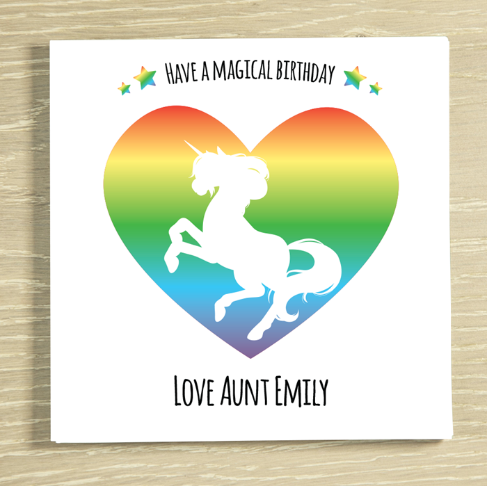 Picture of Magical Unicorn Heart personalised chocolate card