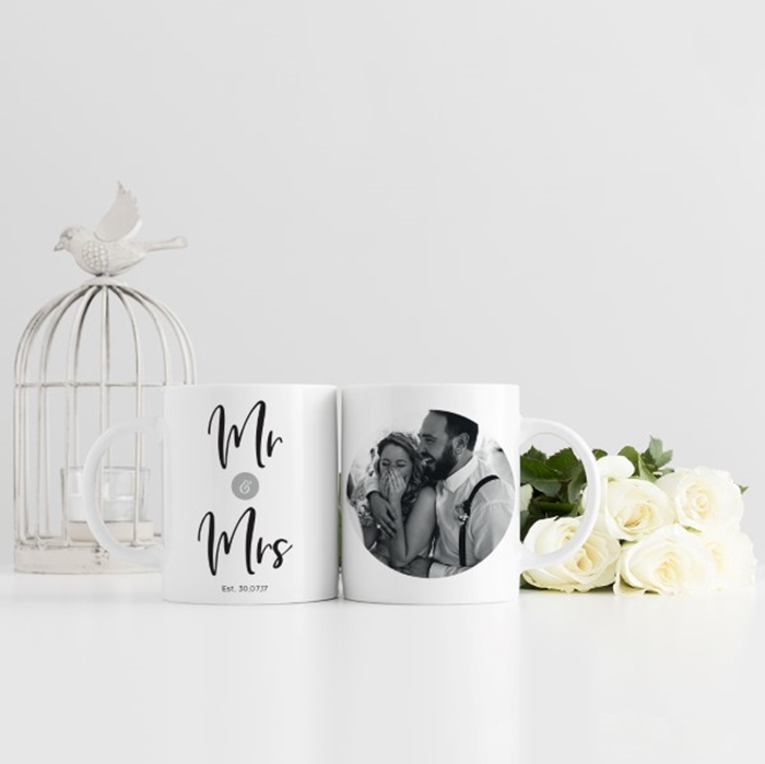 Picture of Mr & Mrs Wedding Photo Personalised Mug