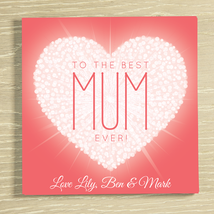 Picture of Mum Heart personalised chocolate card