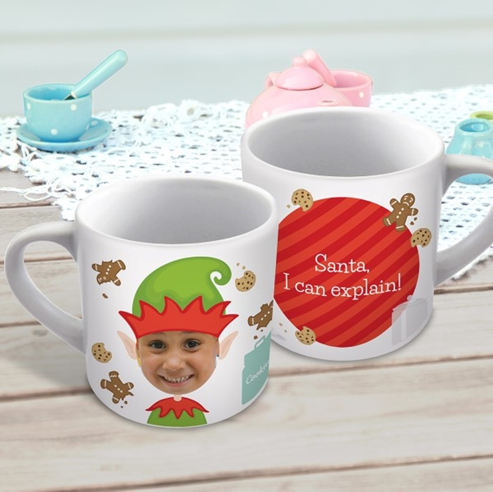 Picture of Elf photo Christmas child's personalised mug