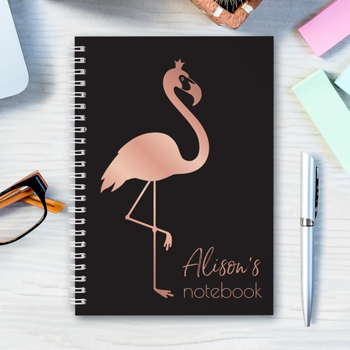 Picture of A5 rose gold flamingo hardcover spiral notebook