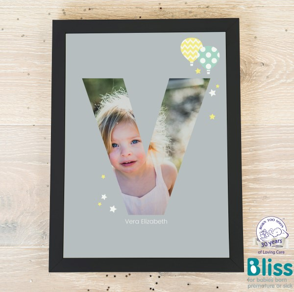 Picture of A4 Baby Alphabet 'V' personalised poster