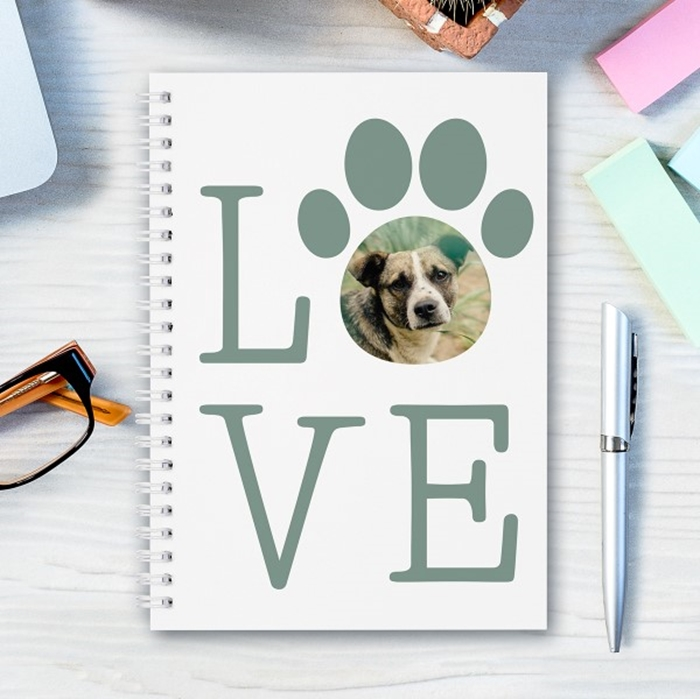 Picture of A5 Love Paw personalised notebook