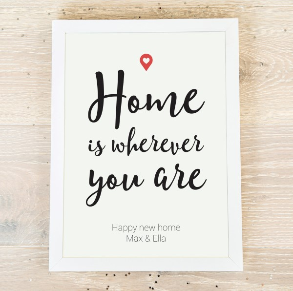 Picture of A3 Home is wherever you are personalised poster