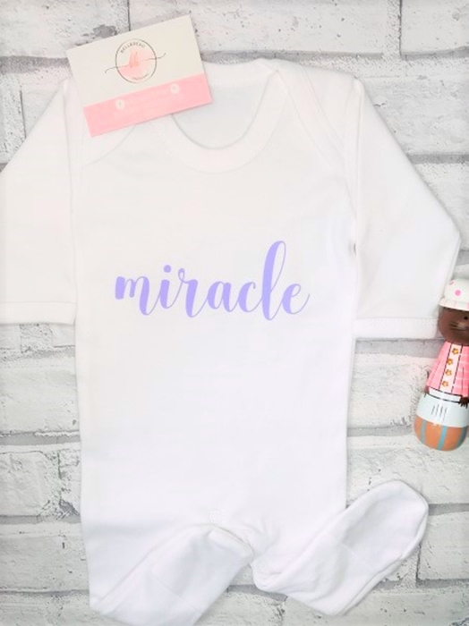 Picture of Miracle baby personalised white sleepsuit