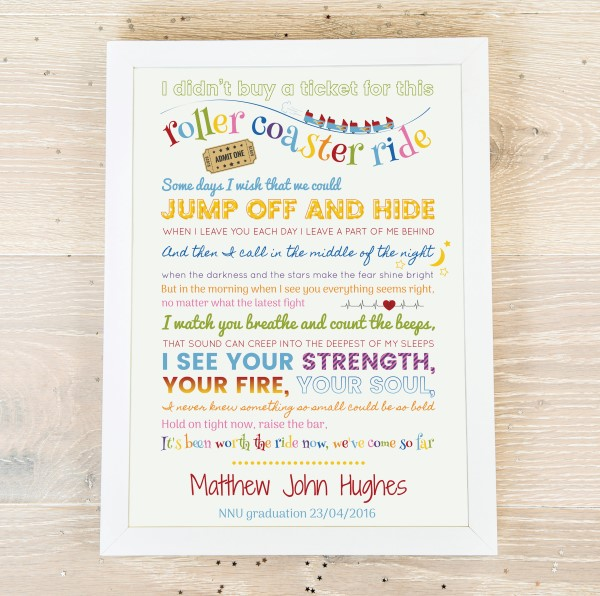 Picture of Roller coaster ride premature baby poem poster
