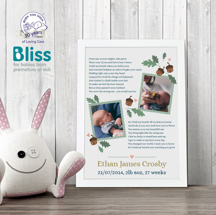 Picture of Tiny acorns premature baby poem personalised poster