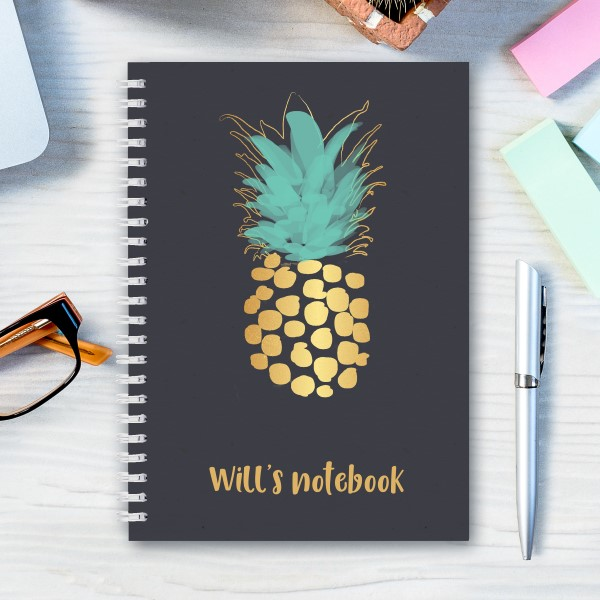 Picture of A5 pineapple stripe hardcover spiral notebook