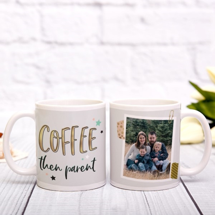 Picture of Coffee then parent photo personalised mug