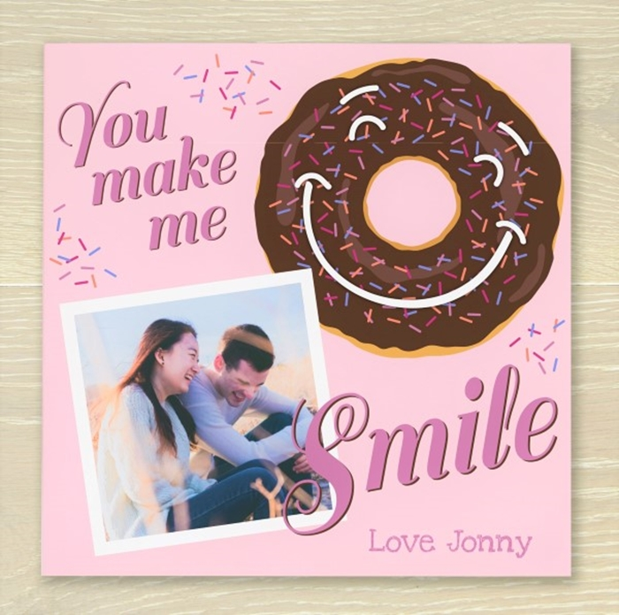 Picture of You Make Me Smile Personalised Chocolate Card