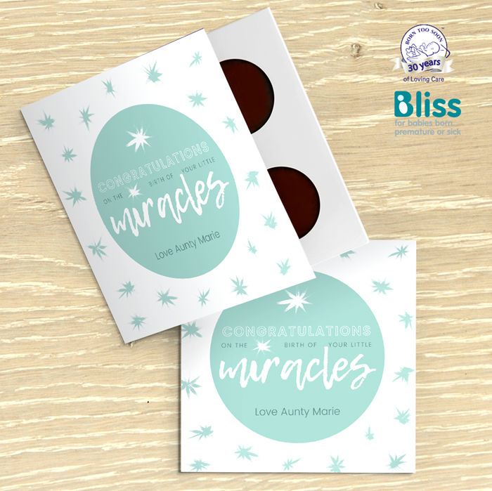 Picture of Multiple Miracle baby congratulations personalised chocolate card