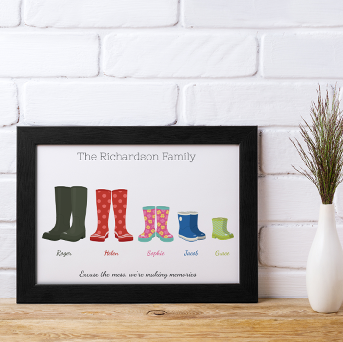 Picture of A4 Wellies family personalised poster