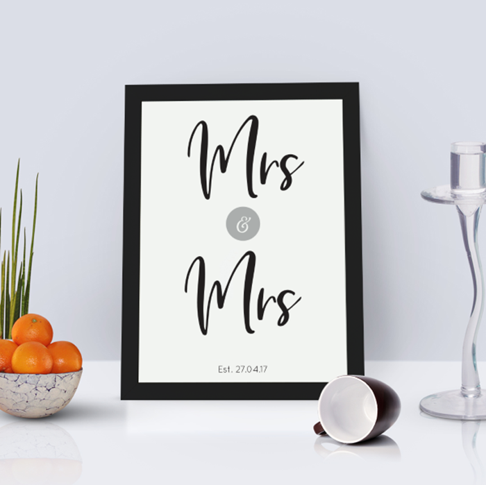 Picture of A4 Mrs & Mrs personalised poster