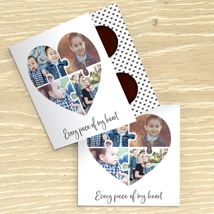 Picture of Heart jigsaw photo personalised chocolate card