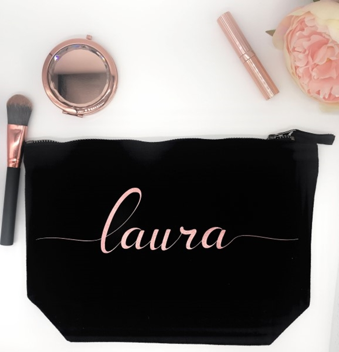 Picture of Rose gold name personalised black cosmetic bag
