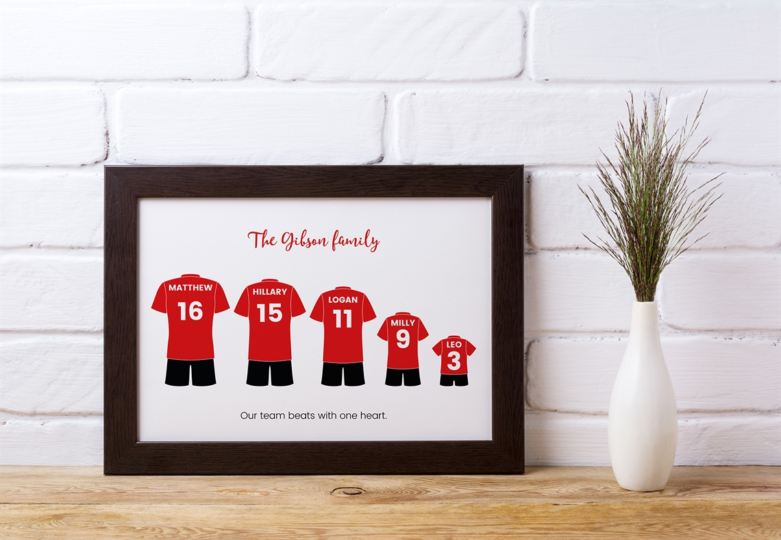 Picture of A4 5 football kit family personalised poster