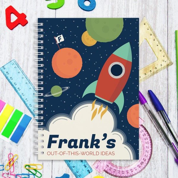 Picture of A5 Rocketship hardcover spiral notebook