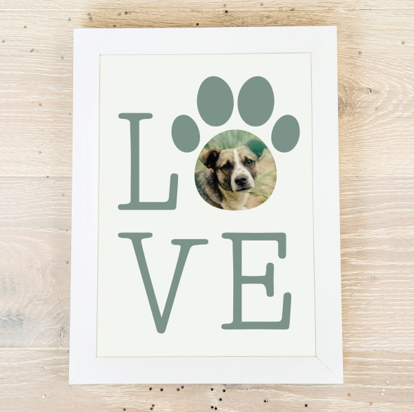 Picture of A3 Love paw print personalised poster