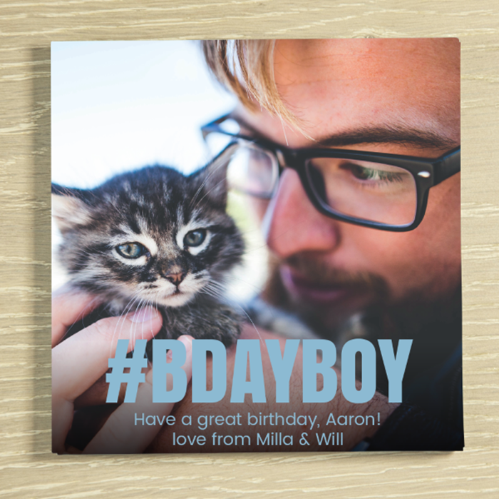 Picture of #BDAY BOY personalised chocolate card