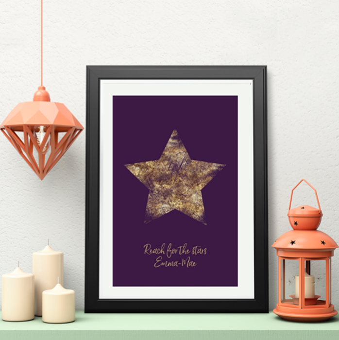 Picture of A3 Purple Star personalised poster