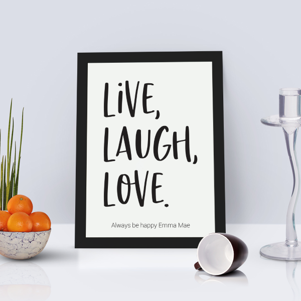 Picture of A4 Live, Laugh, Love personalised poster