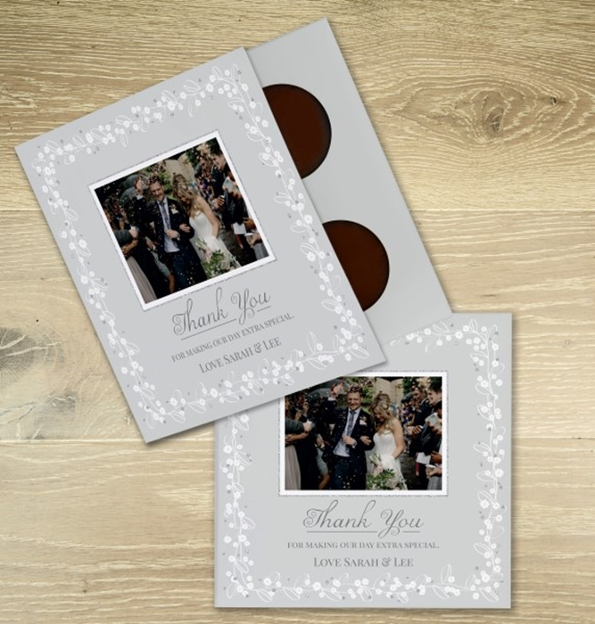 Picture of Wedding thank you personalised chocolate card